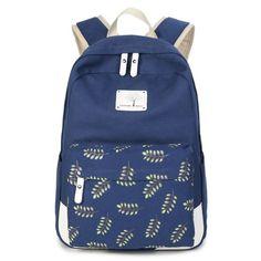 Women Backpack for Teenager Girls Stylish Ladies Bag Backpack Canvas School Female Black Leaf Printing