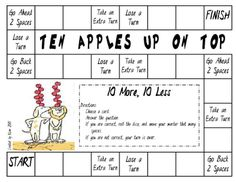 "Practice 10 more and 10 less with this ""Ten Apples Up On Top"" game board."