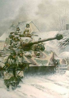 Tiger 2 and troops, eastern front. German Soldiers Ww2, German Army, Military Art, Military History, Military Drawings, Germany Ww2, Between Two Worlds, Tiger Ii, War Thunder