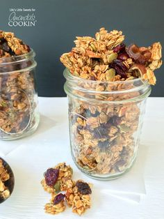 This homemade granola recipe is loaded with cinnamon, warm vanilla, pumpkin seeds and tart cranberries and is naturally sweetened with maple syrup & honey.