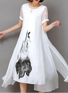 Chiffon Blumen kurze Ärmel Knielang Lässige Kleidung Kleider (1038112) @ floryday.com