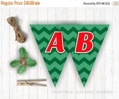 On Sale 80% OFF Green Chevron Full Alphabet Triangle by BannerSays