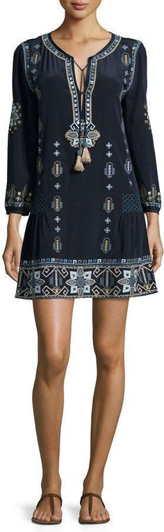 Long-Sleeve Embroidered Dress, Navy
