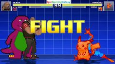 Barney The Dinosaur & The Heavy VS Pikachu The Pokemon & Spider-Man In A MUGEN Match / Battle This video showcases Gameplay of Barney The Dinosaur From The Barney & Friends Series And The Heavy From The Team Fortress Series VS Pikachu The Pokemon And Spider-Man The Superhero In A MUGEN Match / Battle / Fight