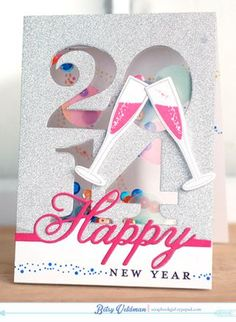 new year shaker card by betsy veldman for papertrey ink december 2013 happy new