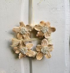 White soft yellow wreath indoor dried floral by TheSecretGardenn