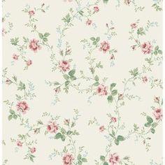 One Allium Way Leela Rose Vines L x W Wallpaper Roll Colour: Cream/Dark Green/Pink Cream Wallpaper, Classic Wallpaper, Wallpaper Roll, Pattern Wallpaper, Cottage Wallpaper, Chic Wallpaper, Vintage Wallpaper Patterns, Wallpaper Designs, Rose Vines