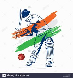 Stock Vector - creative abstract cricket player design by brush stroke vector Cricket Poster, Cricket Bat, Cricket Sport, Cricket Tips, Cricket Logo Design, Team Logo Design, Photoshop Logo, Photoshop Design, Ms Dhoni Wallpapers