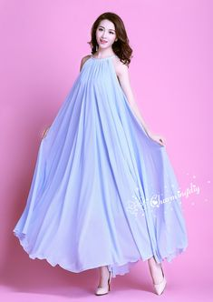 d928a0b8a78 110 Colors Chiffon Light Blue Long Party Dress Evening Wedding Sundress  Maternity Summer Holiday Beach Dress Bridesmaid Dress Maxi Skirt