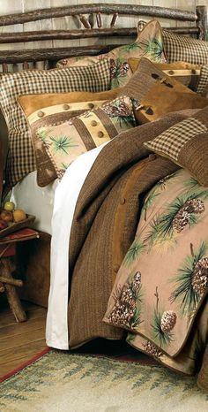 Crestwood Pinecone Bedding in colors of Fall that will go right into the Christmas season.