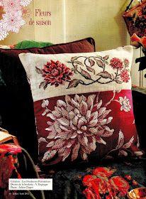 ♥Meus Gráficos De Ponto Cruz♥: Flores em Ponto Cruz para Almofada e Toalha de Mesa