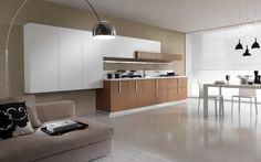 salon avec salle à manger et cuisine: appartement moderne