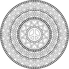 peace love flower mandala american hippie art coloring pages colouring adult detailed advanced printable kleuren voor - Art Therapy Coloring Pages Mandala