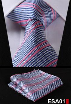 "Stripe Blue Silver Stripe 3.4"" 100%SilkTie Necktie Pocket Square Set"
