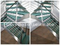 Stairs made of tempered and laminated glass with stainless steel or painted steel structure. Glass staircase with self-supporting steps. Glass Stairs, Floating Stairs, Wooden Stairs, Exterior Stairs, Laminated Glass, Glass Floor, Wood Interiors, Spiral Staircase, Steel Structure