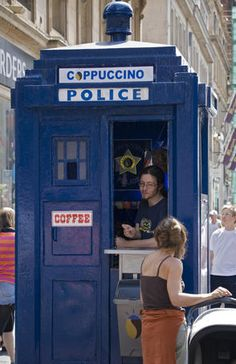 Coffee stand in restored police box.    In Glasgow, but I know not where. Worked out to Buchanan St / Royal Bank Place.