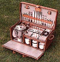 Barrett & Sons 4 Person wicker fold fronted picnic set, c.1905