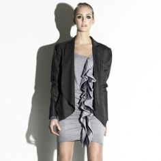 Sweater dress with tulle layered ruffles by Dagmar, sweet with an edge.