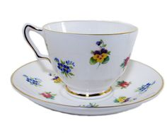 Floral Crown Staffordshire Footed Cup and Saucer