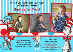 Boy or Girl Dr. Seuss Photo Birthday Invitation Dr Seuss Invitation Dr Seuss Birthday Invitation Digital File 5x7 sally thing one 1 thing two 2