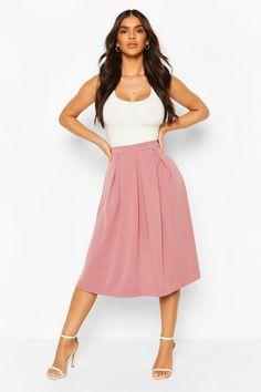 Basic Box Pleat Midi Skirt | Boohoo UK Pleated Midi Skirt, High Waisted Skirt, Box Pleats, Box Pleat Skirt, Suits You, Hemline, Boohoo, Crop Tops, Skirts