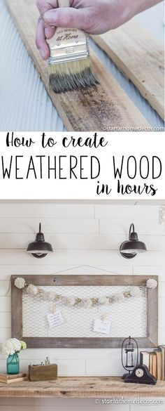 to Create Weathered Wood in Hours How to create weathered wood in hours. Beautiful shiplap walls with reclaimed wood!How to create weathered wood in hours. Beautiful shiplap walls with reclaimed wood! Easy Home Decor, Handmade Home Decor, Home Decor Hacks, Wood Home Decor, Diy Holz, Diy Décoration, Easy Diy, Ship Lap Walls, Diy Wood Projects