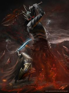The Last Stand (Fingolfin vs Morgoth) by Morkt | Deviant Art | This a representation of my favourite event of the Legendarium of JRR Tolkien, The Silmarillion. Here, Fingolfin, the most great and strong Elf, challenge Morgoth to fight, for the destiny of his p...