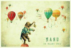 Geboortekaartje retro jongen of meisje - olifant met luchtballonen - Pimpelpluis  https://www.facebook.com/pages/Pimpelpluis/188675421305550?ref=hl (# olifant - circus - luchtballon - dieren - ballon - grappig - vintage - retro - origineel)