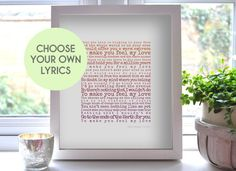 Song Lyrics Print Music Lover Gift First Anniversary Gift