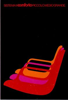 Ettore Vitale for Comforto, 1970s #poster #design #chairs