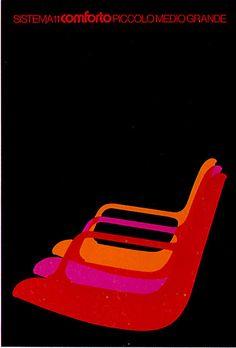 Ettore Vitale for Comforto, 1970s #poster #design #chairs
