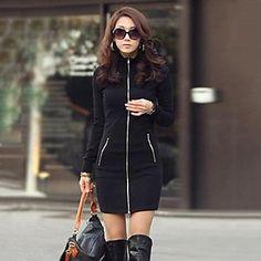 vestido ocasional das mulheres mangas compridas dois tipo gola do casaco de zíper em linha reta - BRL R$ 58,11