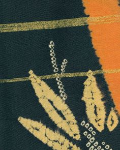Fabric - A silk haori (jacket) featuring precise shibori-dyed (tie-dyed) bamboo motifs on a black background. A few areas have sets of gold metallic threads running horizontally.  Late Taisho to early Showa period  (1920-1940), Japan.  The Kimono Gallery