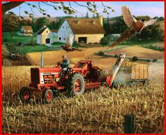 Farm scene landscapes ll50221b fall deer and farm scene - Farmall tractor wallpaper border ...