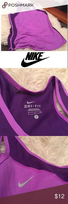 Nike Women's Purple Small Mesh Athletic Top Nike Women's Purple Small Mesh Athletic Top. 26 inches long. 16 inch bust. Gently worn. Tiny hole on neckline from the tag, otherwise excellent condition. Feel free to make an offer or bundle & save! Nike Tops Tank Tops