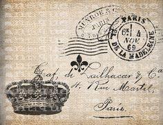 ANtiQue Crown Paris French France Fleur de Lis Postcard Script Illustration Digital Download for Papercrafts, Transfer, Pillows, etc No 3791...