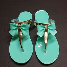 TIFFANY BLUE BLING BOW JELLY SANDALS Pedicures were created for these babies! Soooo cute and a summertime must have. (Brand new in packaging) LAST ORDER OF THE SEASON ALL SIZES AVAILABLE Shoes Sandals