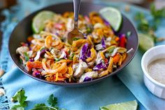 Paleo Chicken Pad Thai combines butternut squash noodles, tons of vegetables for texture and flavor, and is drizzled with the most delicious creamy lime almond butter sauce! This kid-friendly variation is not spicy, but full of flavor. You'll love this for an easy and healthy weeknight dinner! I am now obsessed with butternut squash noodles....Read More »