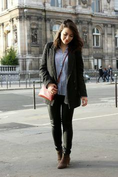 C B C M G - Pimkie tweed coat - HM angora cardigan and blue shirt - Jennyfer simili leather skinny pants - Mango red crossbody bag - Isabel Marant Dickers boots