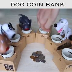 Dog Coin Bank >>Dog Piggy Bank Also Children's Accompany Toy These fun dogs are a great way to teach your kids about money and how to save! You simply put a few coins in its bowl, a. Choses Cool, Money Bank, Earn Money, Birthday Brunch, Brunch Party, Tea Party, Cool Inventions, Piggy Bank, Crafts For Kids