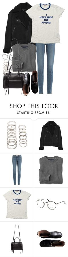 """""""Untitled #9960"""" by nikka-phillips ❤ liked on Polyvore featuring Forever 21, rag & bone, Paige Denim, Levi's, Ray-Ban and Maison Margiela"""
