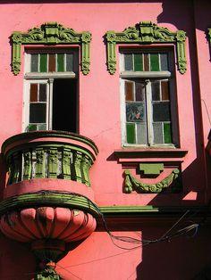 Porto Alegre, RS, Brasil Balcony Window, Window View, Rio Grande Do Sul, Christ The Redeemer Statue, Window Handles, Window Styles, Pink Houses, Through The Window, Beautiful Architecture