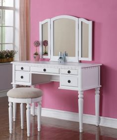 Adorable for doing your makeup and hair, or for a little girl's room. White Vanity Set  F4074