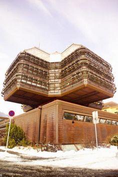 germanpostwarmodern: Research and Computation Center in Leoben, Austria, by Eilfried Huth Civil Engineering, Brutalist, Green Building, Research, Civilization, Modern Architecture, Austria, Pergola, Art Deco