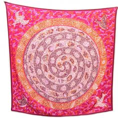 Authentic HERMES Cashmere Silk La Legende Du Poisson Corail Shawl 140.   The extraordinary quality and fine detail of this Hermes scarf make it an iconic fashion accessory.