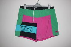 RARE Vintage 90s Adidas Line Wave Colorblock Multicolor Nylon Short Trunk Pant Size 36 to 40 Surfing Beach Wear Hip Hop Rap NBA Running