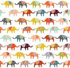 A really fun Spoonflower print. elephant march fabric by endemic on Spoonflower - custom fabric Elephant Fabric, Elephant Pattern, Elephant Love, Elephant Print, Colorful Elephant, Elephant Design, Elephant Stuff, Elephant Parade, Pattern Texture