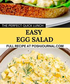 Egg Salad Recipe. Egg Salad Sandwiches, Sandwich Recipes, Salad Recipes, Recipe Using Hard Boiled Eggs, Quick Lunch Recipes, Easy Egg Salad, Appetizers For A Crowd, Sweet Pickles, Side Dishes