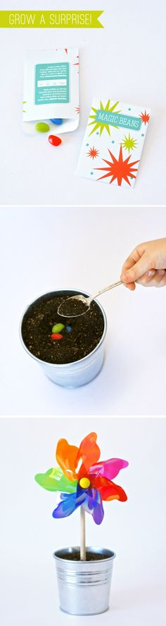 """Such a cute idea.  Seed packet for """"magic"""" jelly beans.  Have your little one plant them and overnight a surprise pinwheel grows!"""