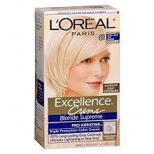 L'Oreal ExcellenceTriple Protection Permanent Hair Color CremeExtra Light Ash Blonde 01  Going to do front highlights with this and keep the ombré in back..